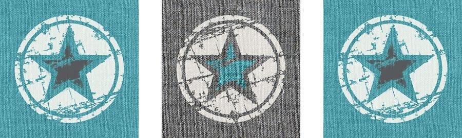 muursticker 3 luik turquoise sterren
