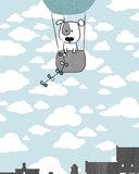 Poster babykamer (zelfklevend)mint grijs luchtballon detail