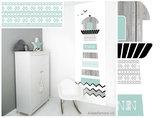 Poster (zelfklevend) babykamer vuurtoren zwart wit mint
