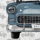 auto behang detail blauw