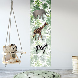 Poster kinderkamer (zelfklevend): Jungle dieren