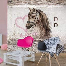 Fotobehang paard met naam