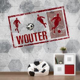 Fotobehang voetbal rood met naam