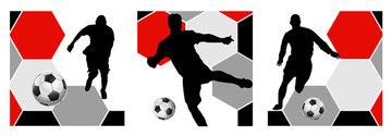 Muursticker voetballer rood/wit