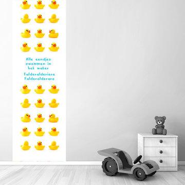 Poster babykamer (zelfklevend): eendjes met tekst