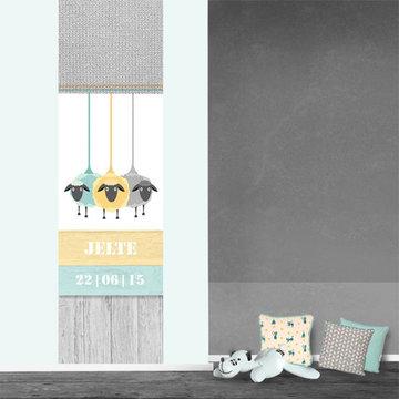 Poster babykamer (zelfklevend): Schapen