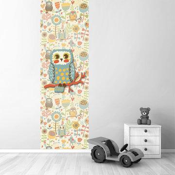 Poster babykamer (zelfklevend): Uil vintage