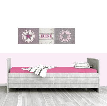 Poster kinderkamer horizontaal (zelfklevend): Stoere ster roze