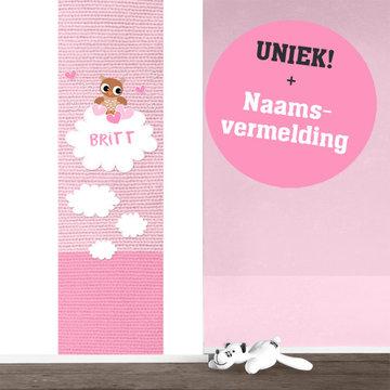 Poster kinderkamer (zelfklevend): Baby uil roze