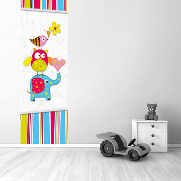 Poster babykamer (zelfklevend): Beestenboel