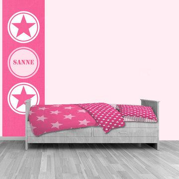 Poster kinderkamer (zelfklevend): Ster roze