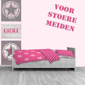 Poster kinderkamer (zelfklevend): Stoere ster roze