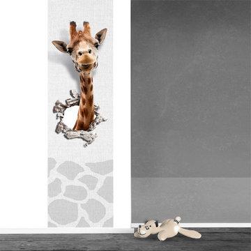 Poster kinderkamer (zelfklevend): Giraf