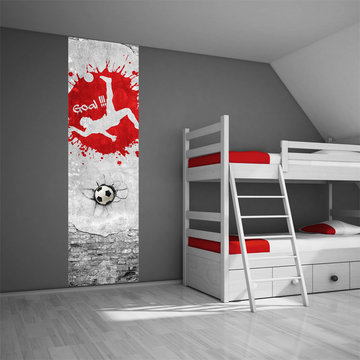 Poster kinderkamer (zelfklevend): Voetbal rood
