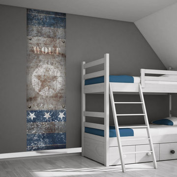 Poster kinderkamer (zelfklevend): Stoere ster roest/blauw