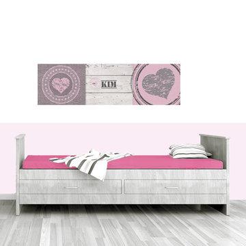 Poster kinderkamer horizontaal (zelfklevend): Harten roze horizontaal