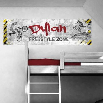 Poster kinderkamer horizontaal (zelfklevend): Freestyle BMX