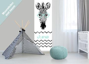 Poster babykamer / kinderkamer (zelfklevend): Zebra met naam