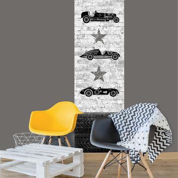 Poster kinderkamer (zelfklevend): Stoere race auto's zwart wit