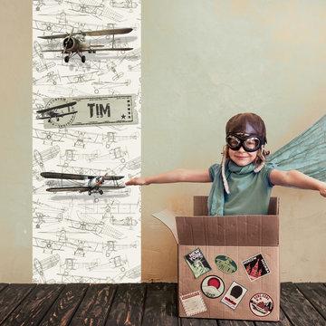 Poster kinderkamer (zelfklevend): Stoere vliegtuigen met naam