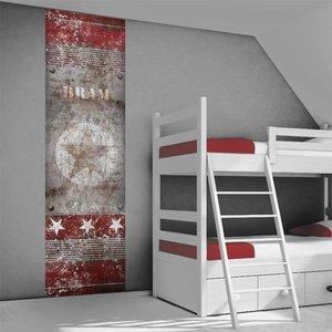 Poster kinderkamer (zelfklevend): Stoere ster roest rood grijs