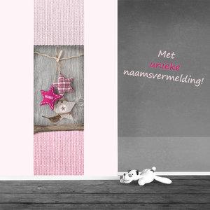 Poster babykamer (zelfklevend): Breiwerk roze ster