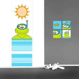 Poster babykamer (zelfklevend): Kikker met duikbril