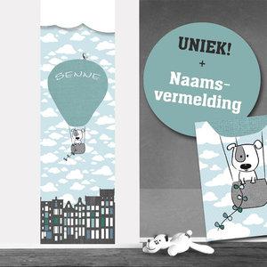 Poster babykamer (zelfklevend): Luchtballon mint
