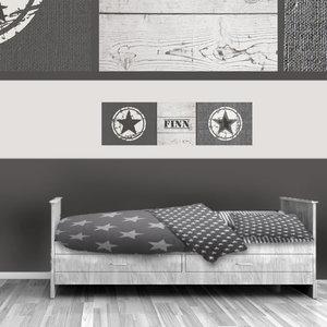 Poster kinderkamer horizontaal (zelfklevend): Stoere ster grijs naturel