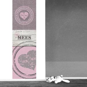 Poster kinderkamer (zelfklevend): Harten roze