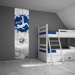 Poster kinderkamer (zelfklevend): Voetbal blauw