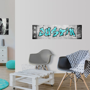 Poster kinderkamer horizontaal (zelfklevend): Graffiti met naam