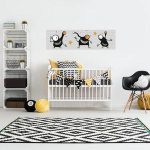 Muursticker babykamer grijs okergeel