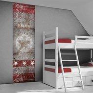 Poster (zelfklevend) kinderkamer rood grijs ster