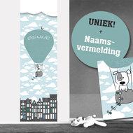 Poster babykamer (zelfklevend) luchtballon mint grijs