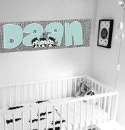 Poster (zelfklevend) babykamer zwart wit mint