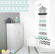 Muursticker babykamer zwart wit mint scandinavisch